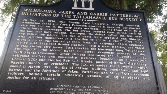 Historical marker on FAMU campus.
